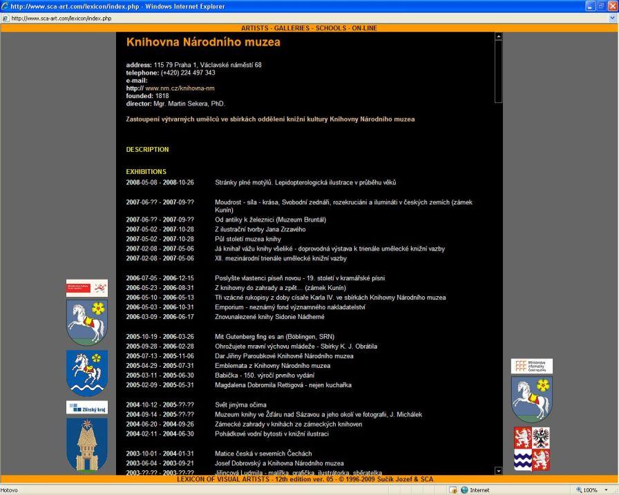 Heslo Knihovna Národního muzea v Lexikonu českých výtvarných umělců a ukázka z abecedního soupisu výtvarných umělců zastoupených ve sbírkách Oddělení knižní kultury