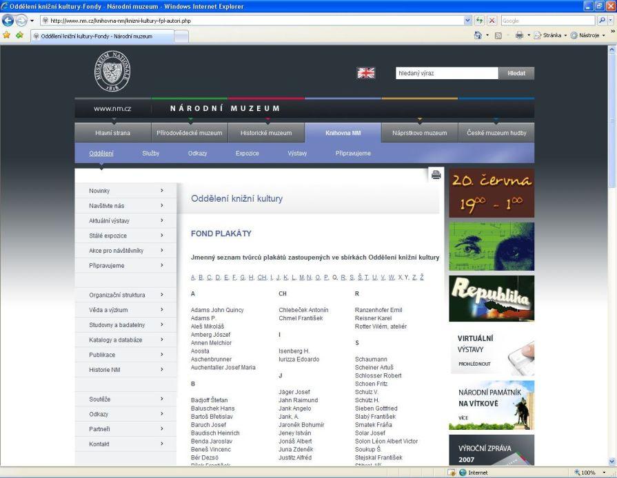 Webové stránky Oddělení knižní kultury Knihovny Národního muzea s ukázkami abecedních soupisů
