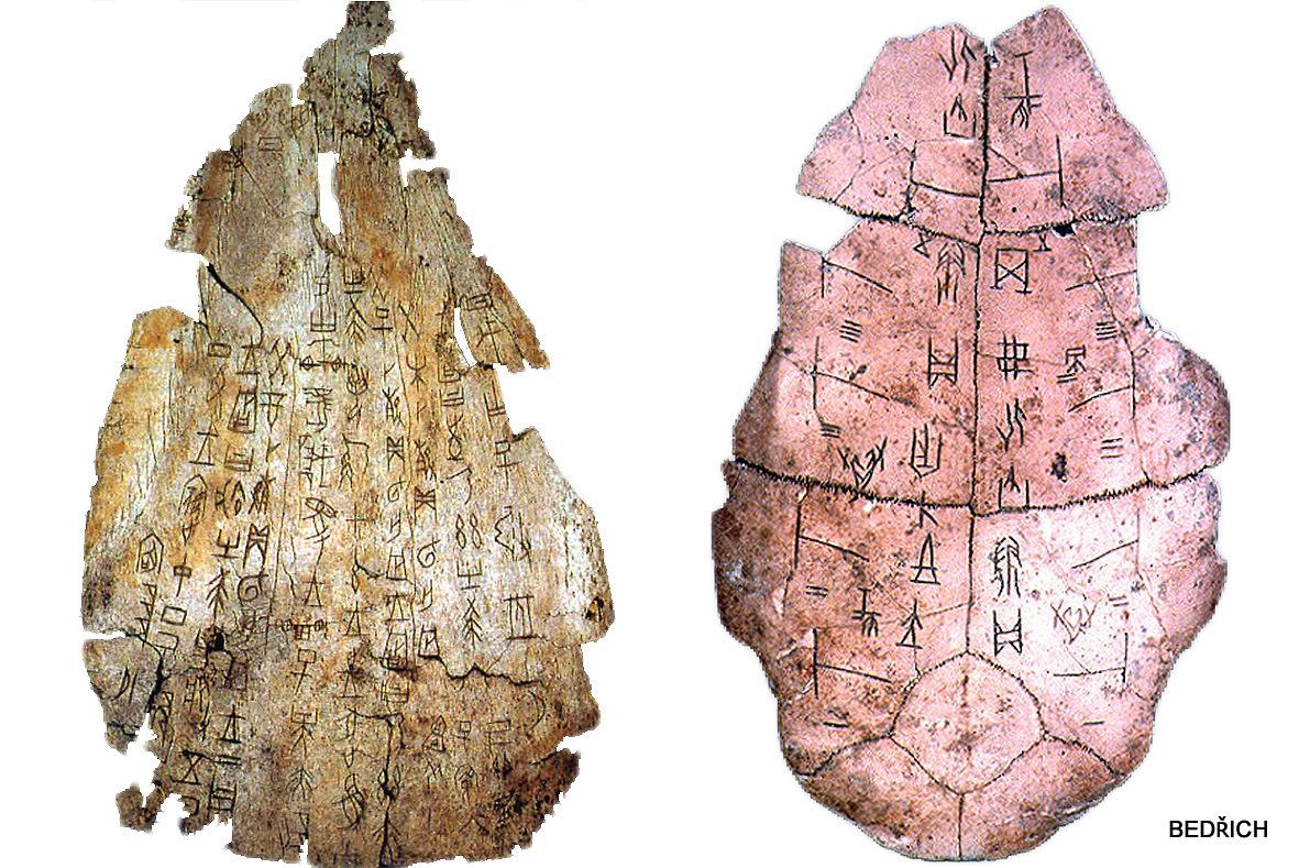 Nápisy  na zvířecích kostech a želvích krunýřích, sloužící pro rituální věštění