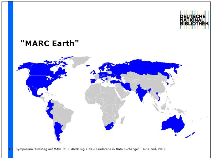 Obr. 1 - Mapa pokrytí formátu MARC 21 (slide R. Heuvelmanna)