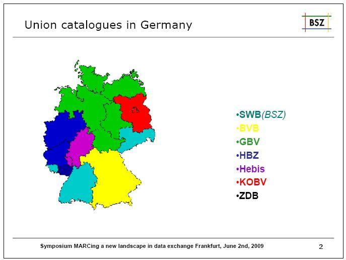 Obr. 2 - Souborné katalogy ve Spolkové republice Německo - slide z prezentace C. Katzové