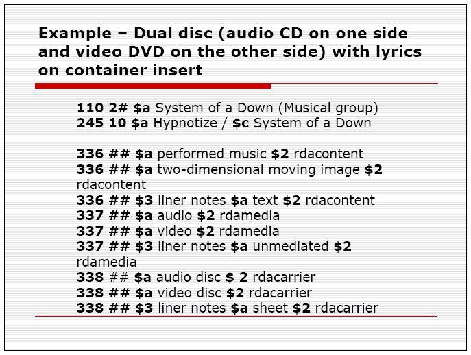 Obr. 4 - Slide z přednášky M. Stewartové zobrazující bibliografický záznam duálního disku