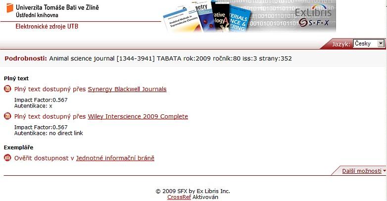 Obr. č. 4 – SFX menu po prolinkování přes příslušný odkaz z databáze Agricola