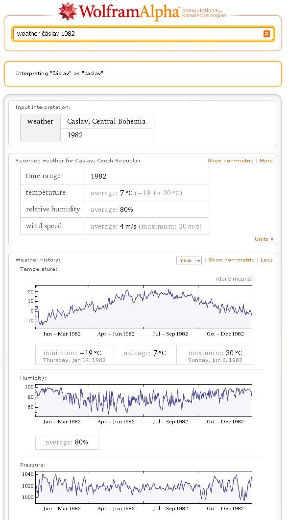 """Obr. 4 - Výsledek dotazu """"Jaké bylo počasí v Čáslavi v roce 1982?"""""""