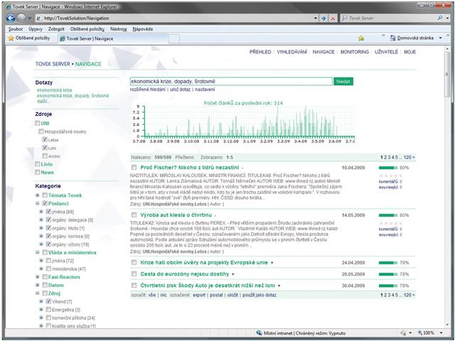 Vyhledávání s navigací - webová aplikace, která umožňuje uživatelům vyhledávat všechny potřebné informace z jednoho uživatelského prostředí. Řešení nabízí uživateli velmi kvalitní vyhledávání a celou řadu navigací, které napomáhají orientovat se ve výsledcích. Na informace lze pohlížet v různém kontextu.