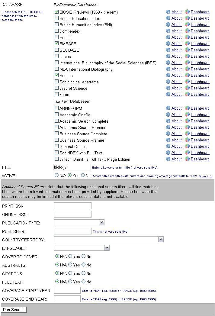 Obr. 1: Vyhledávání časopisu, který má v názvu výraz biology, v databázích BIOSIS Previews, EMBASE a Scopus