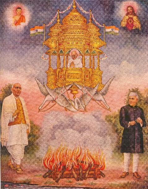 Nanevstoupení M. Gándhího (podle knihy Bharat Mata. India´s freedom movement in popular art)