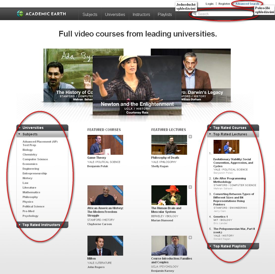 Obr. 1: Rozložení titulní stránky – jednoduché a rozšířené vyhledávání, předmětové skupiny
