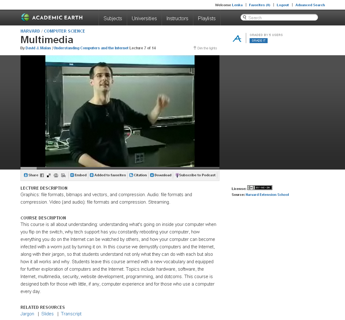Obr. 5: Videozáznam přednášky Multimedia z kurzu Understanding Computers and the Internet