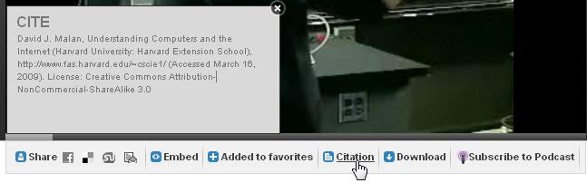 Obr. 7: Zobrazení citace videozáznamu