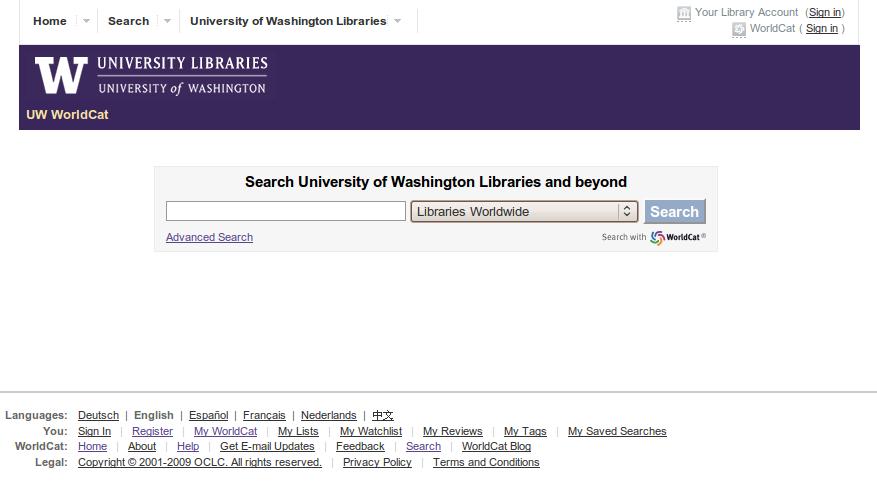 Obr. 7: Titulní stránka systému WorldCat Local na instalaci Knihoven Washingtonské univerzity