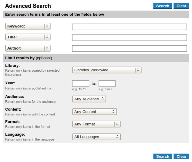 Obr. 8: Formulář rozšířeného vyhledávání v systému WorldCat Local