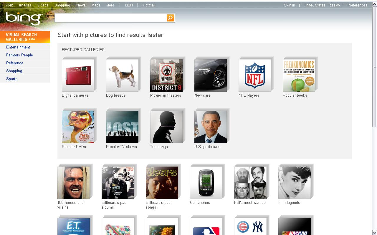 Obr. 1: Úvodní obrazovka vyhledávače Bing Visual Search
