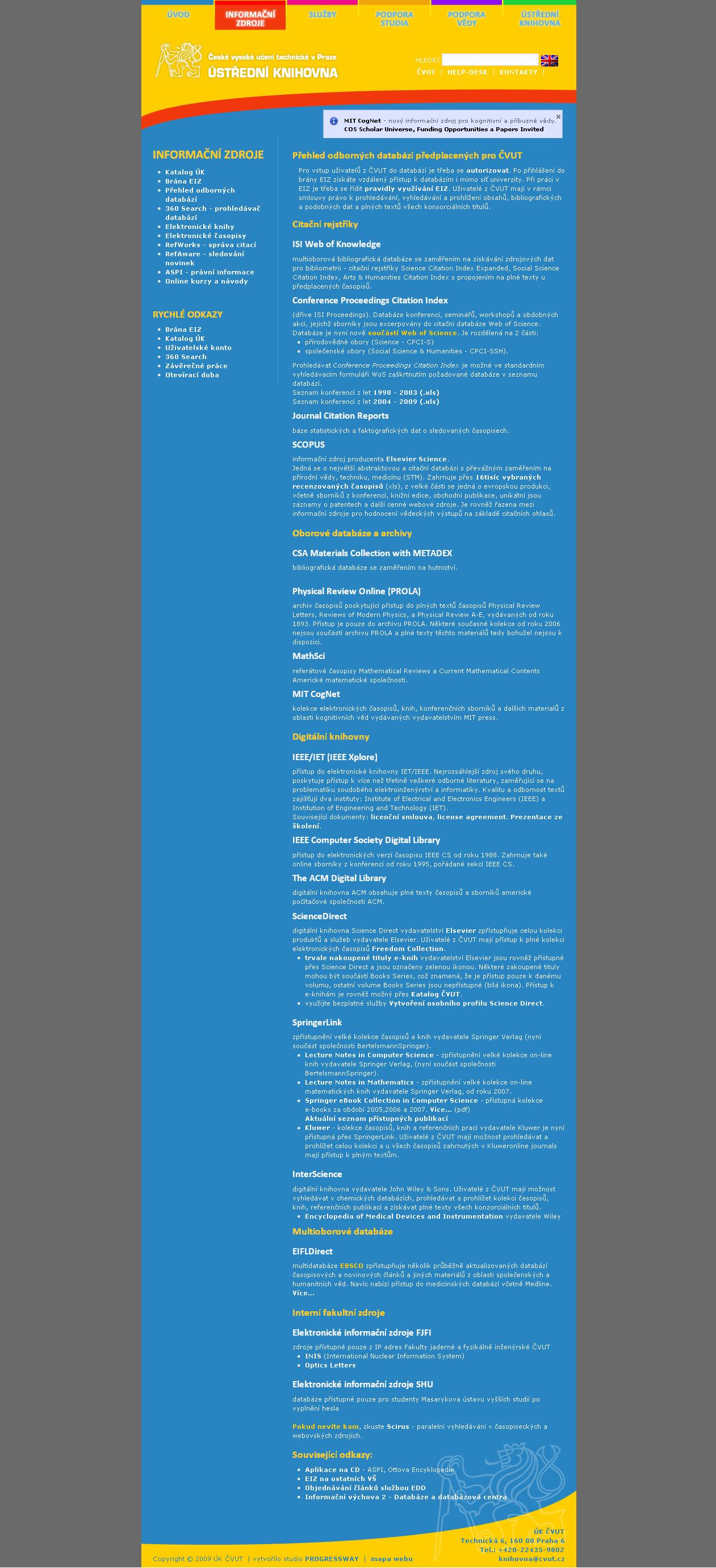 Obr. 2: Seznam elektronických informačních zdrojů ČVUT