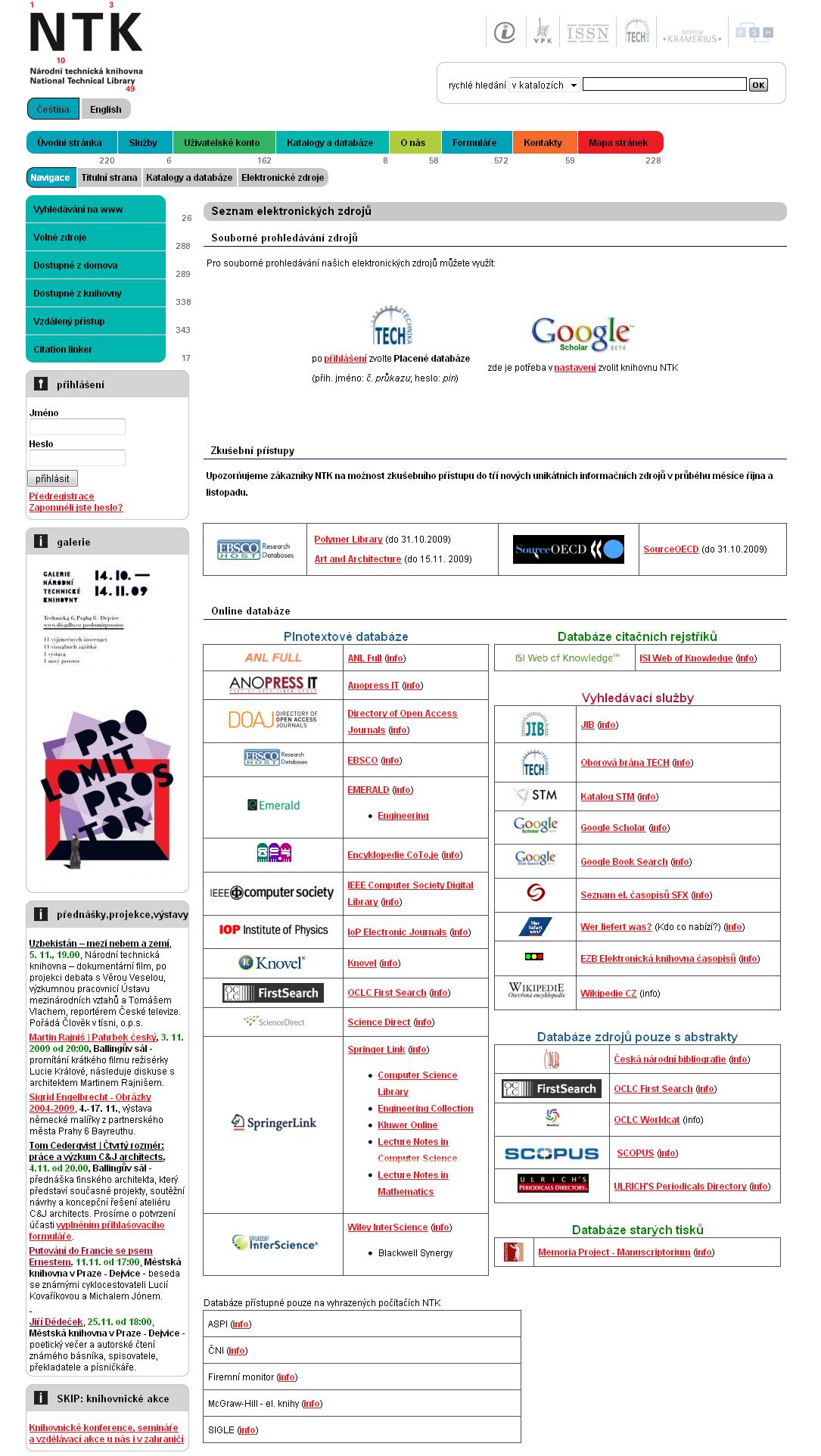 Obr. 1: Seznam elektronických informačních zdrojů NTK
