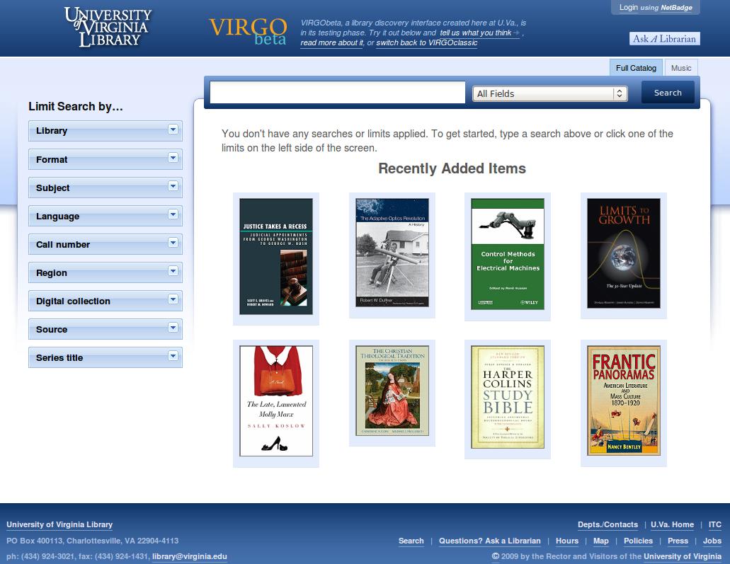 Obr. 1: Titulní stránka systému VIRGObeta v instalaci Knihovny Virginské univerzity