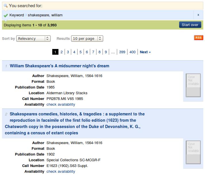 Obr. 3: Ukázka seznamu výsledků vyhledávání v systému VIRGObeta