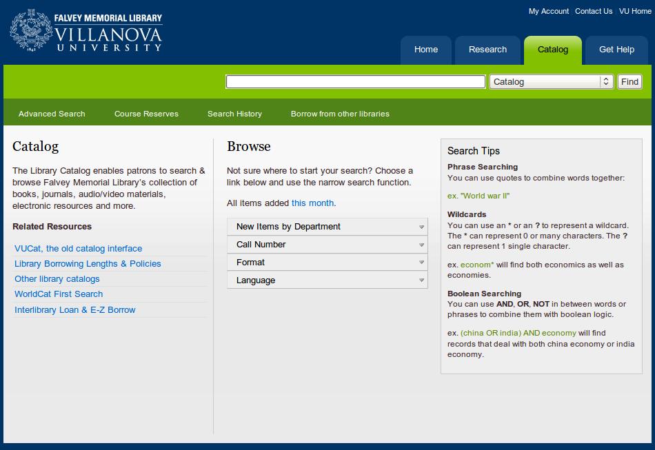 Obr. 5: Titulní stránka systému VuFind v instalaci Falvey Memorial Library Villanovské univerzity