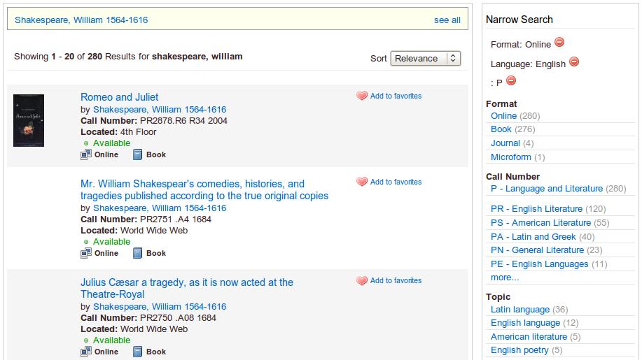 Obr. 7: Ukázka seznamu výsledků vyhledávání v systému VuFind
