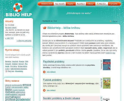 Obr. 3: Úvodní stránka portálu BiblioHelp