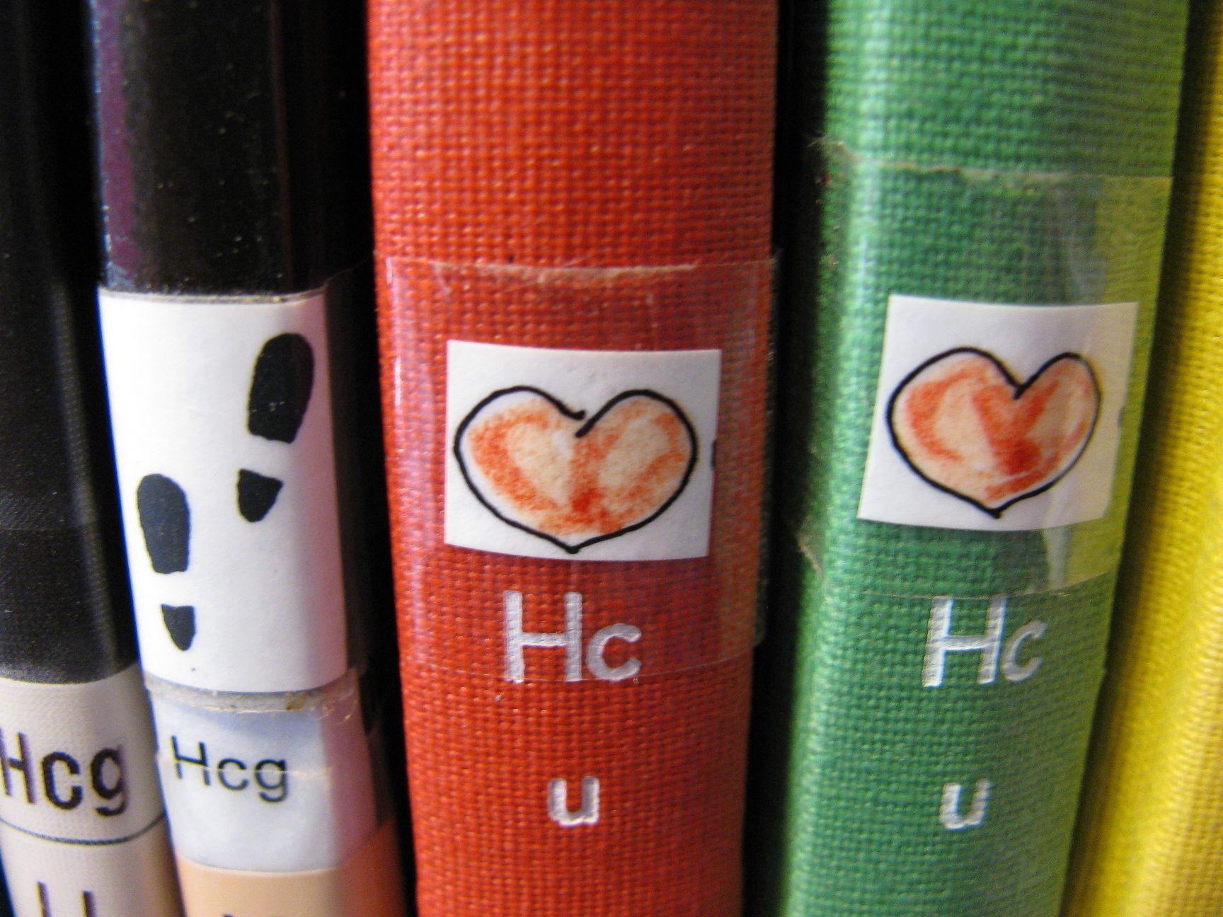 Nálepky na knihách v dětském oddělení Knihovny Hässlehus