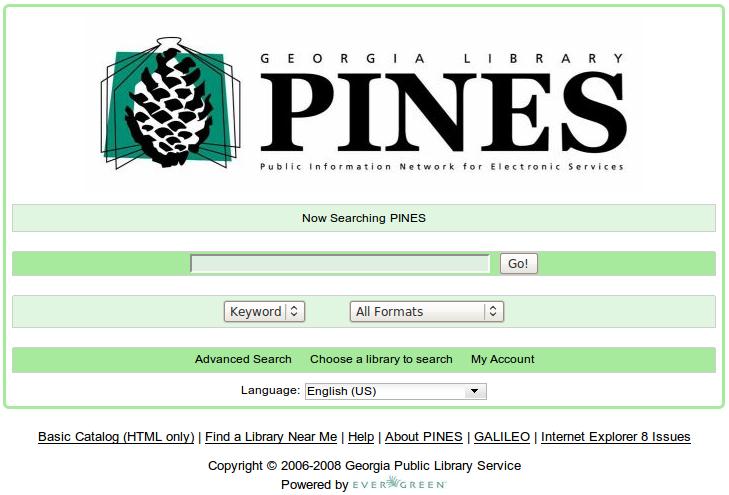 Obr. 1: Titulní stránka systému Evergreen v instalaci Georgijské knihovny