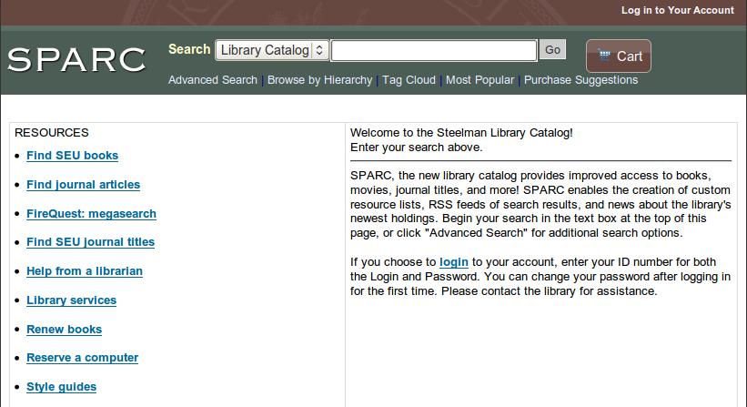 Obr. 5: Titulní stránka systému Koha na instalaci Steelmanovy knihovny Southeasternské univerzity