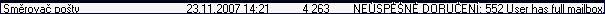 Obr. 1: 552 - plná schránka - položka poštovní složky uživatele