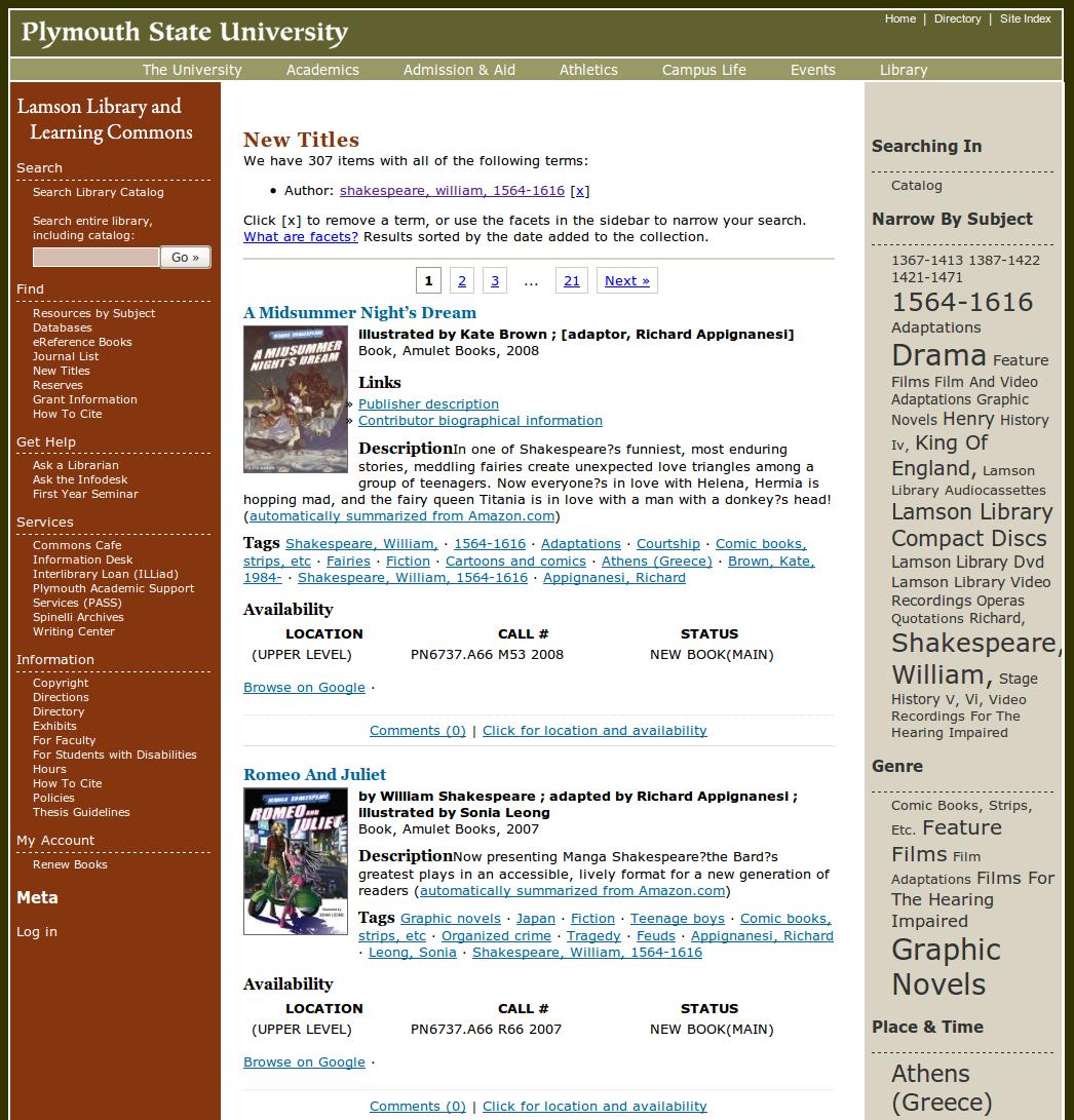 Obr. 2: Ukázka seznamu výsledků vyhledávání v systému Scriblio