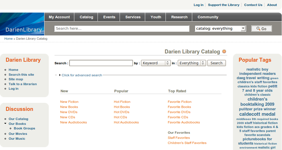 Obr. 4: Část titulní stránky katalogu SOPAC v instalaci Darienské knihovny
