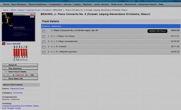 Obr. 2: Výběr díla ze seznamu. Vlevo se objeví přebal CD, pod ním interpreti skladby