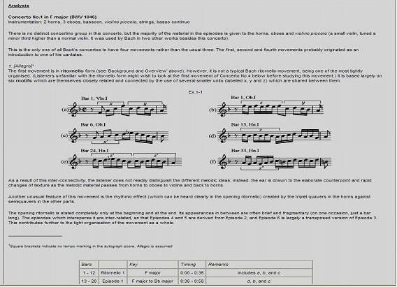 Obr. 5: Ukázka rozboru skladby (část): Johann Sebastian Bach:  Brandenburg Concerto No. 1 in F major, BWV 1046