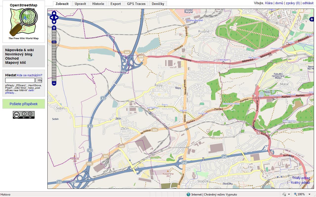 Obr. 1: Prostředí OpenStreetMap