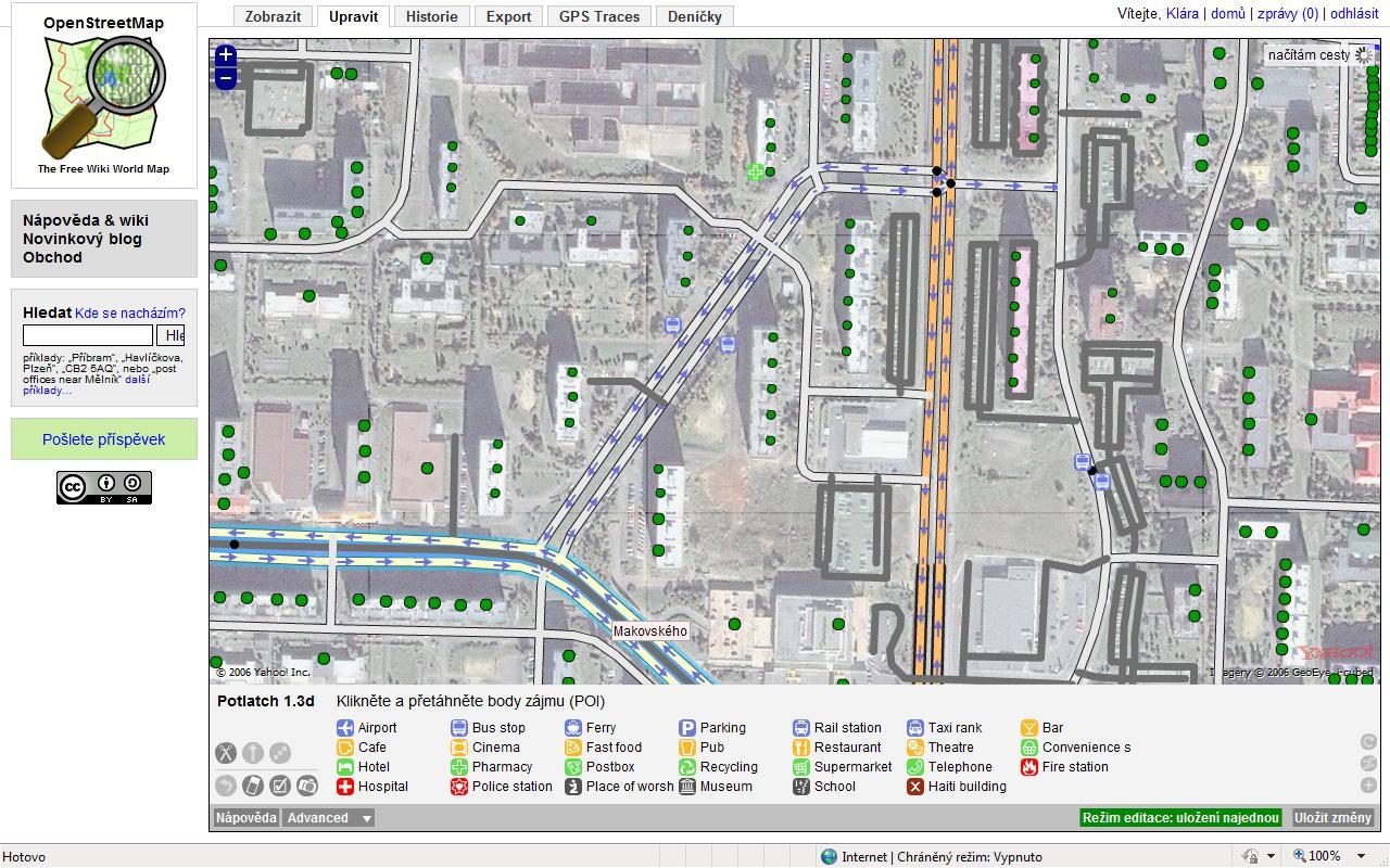 Obr. 2: Editace mapy v editoru Potlatch