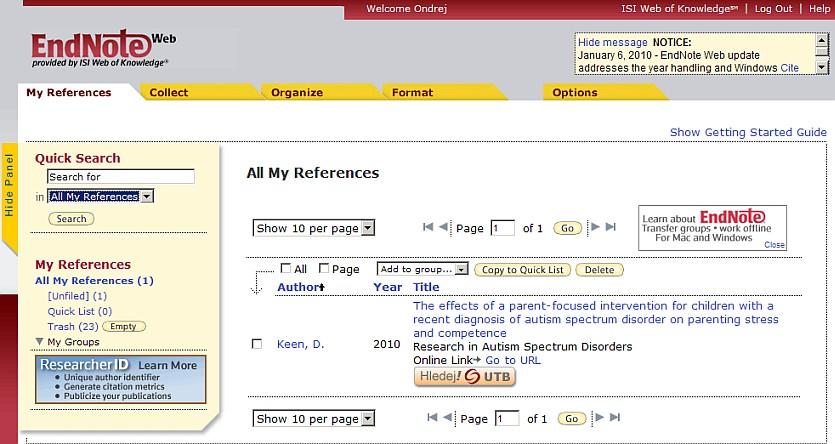 Obr. 4 – Zobrazení bibliografického záznamu dokumentu vsystému EndNoteWeb
