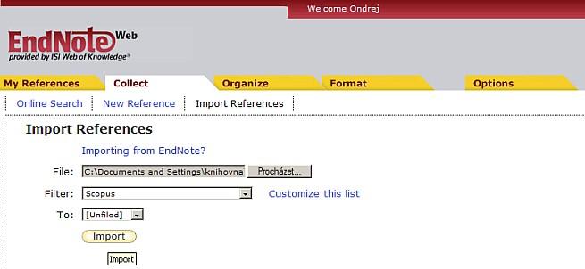 Obr. 5 – Rozhraní pro import bibliografického záznamu do systému EndNoteWeb