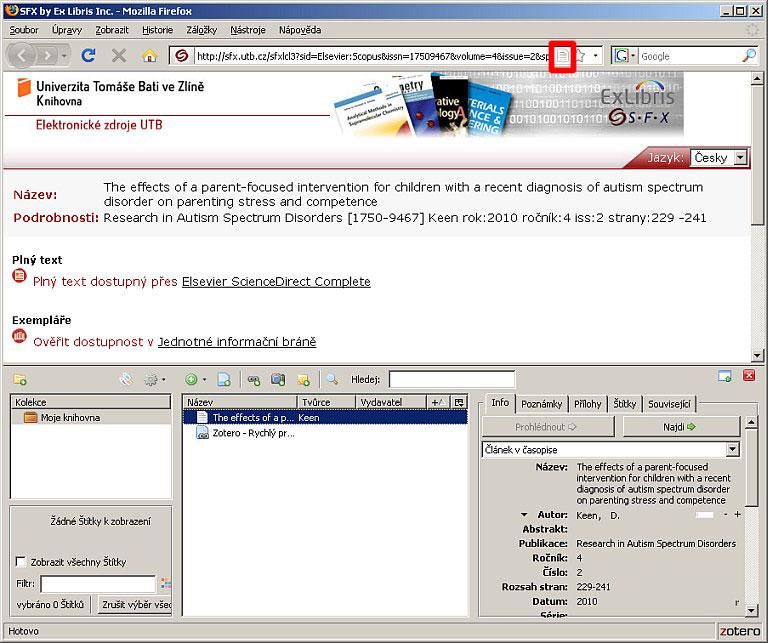 Obr. 6 – Záznam stažený zSFX do systému Zotero. Stažení proběhne automaticky po kliknutí na červeně označenou ikonu