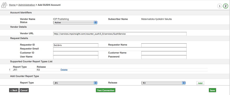 Formulář pro nastavení služby SUSHI