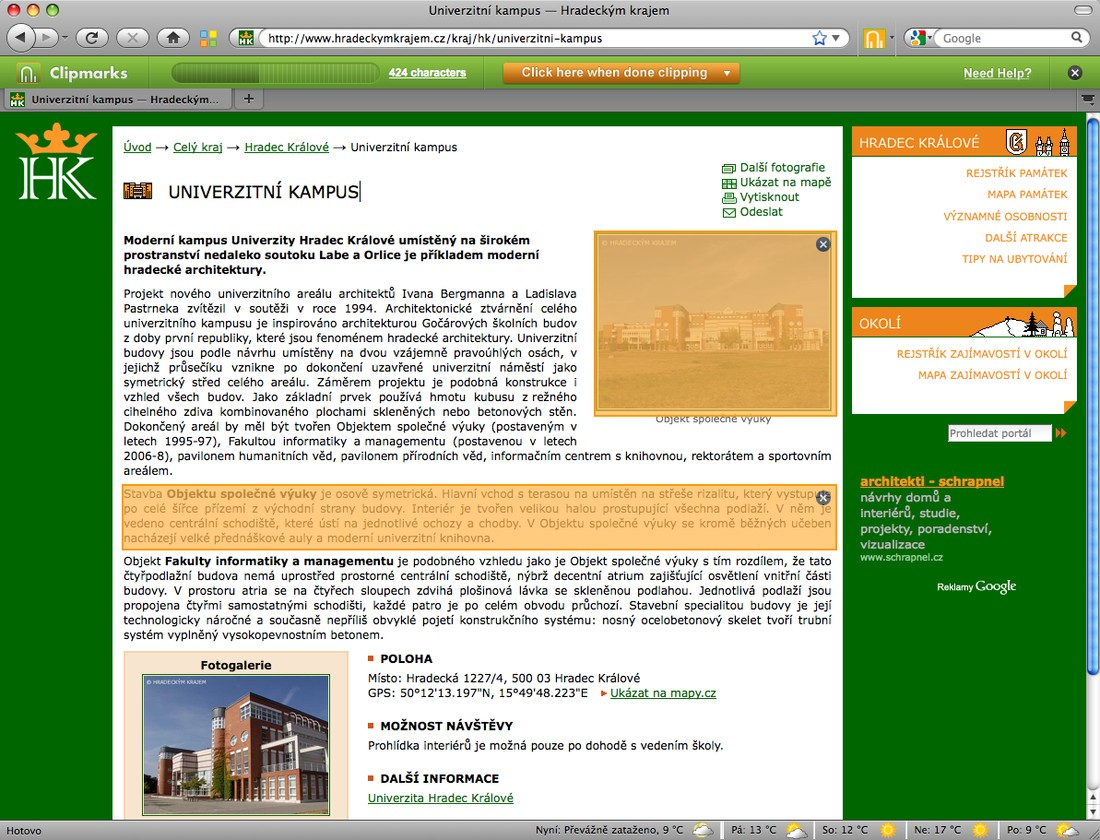 Webová stránka s výběrem textu a obrázku