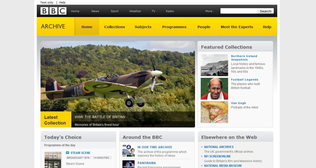Webová stránka archivu BBC