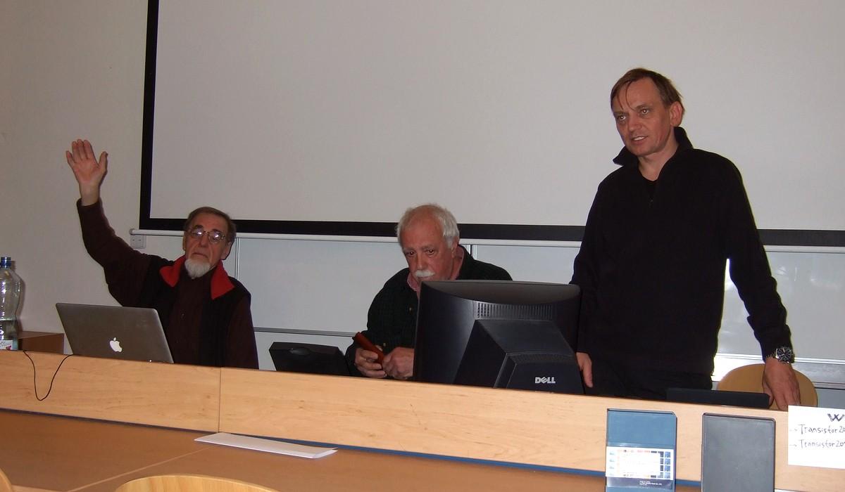 Účastníci diskuse: Woody Vasulka, Don Foresta a Pavel Smetana