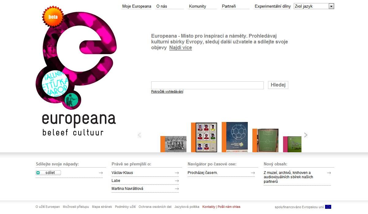 Aktuální webová stránka Europeany (vyhledávání knih aktuálně dominuje fotbal)