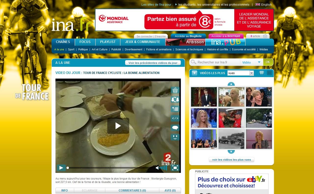 Webová stránka www.ina.fr v designu Tour de France