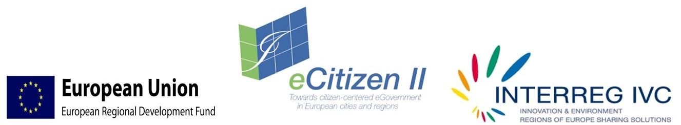 Loga Evropské Unie, projektu eCitizen II a INTERREG IVC