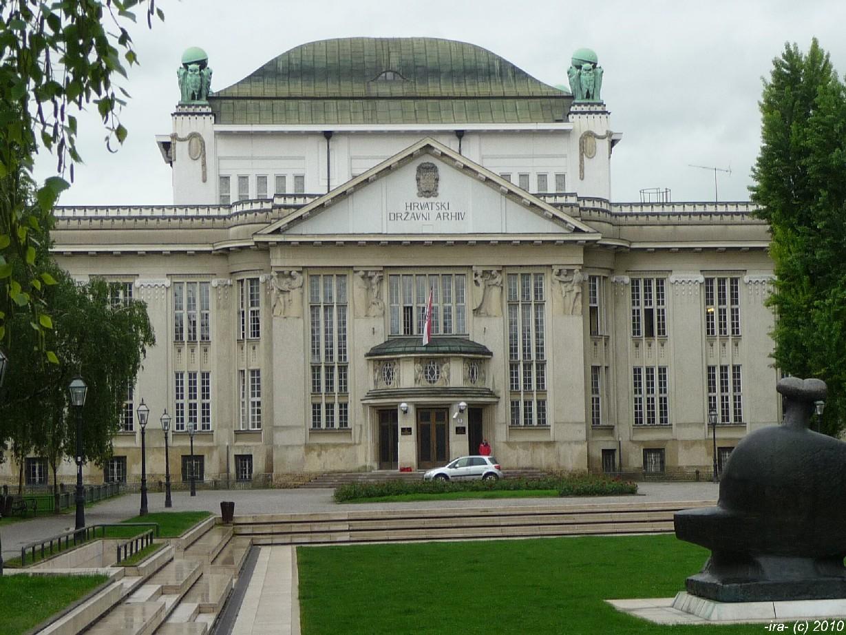 Secesní budova Chorvatského státního archivu v Záhřebu