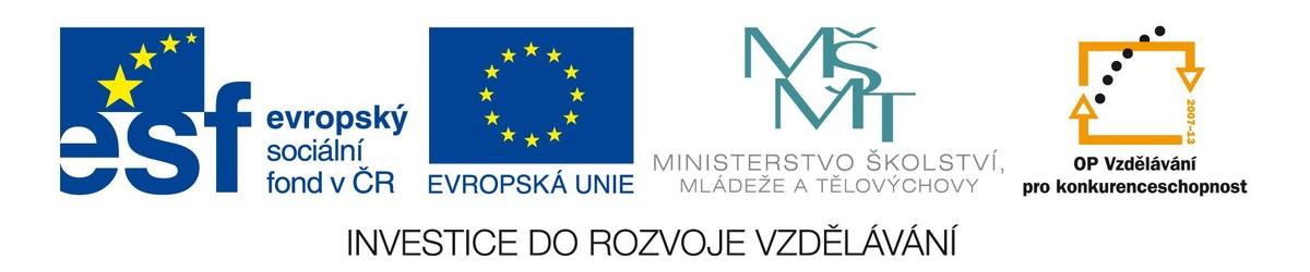 Loga Evropského sociálního fondu, Evropské unie, Ministerstva školství, mládeže a tělovýchovy a OP Vzdělávání pro konkurenceschopnost