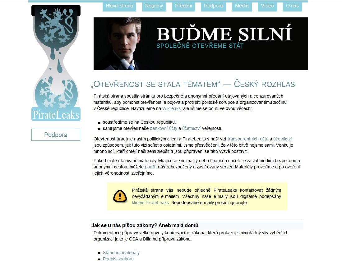 Webové stránky PirateLeaks.cz