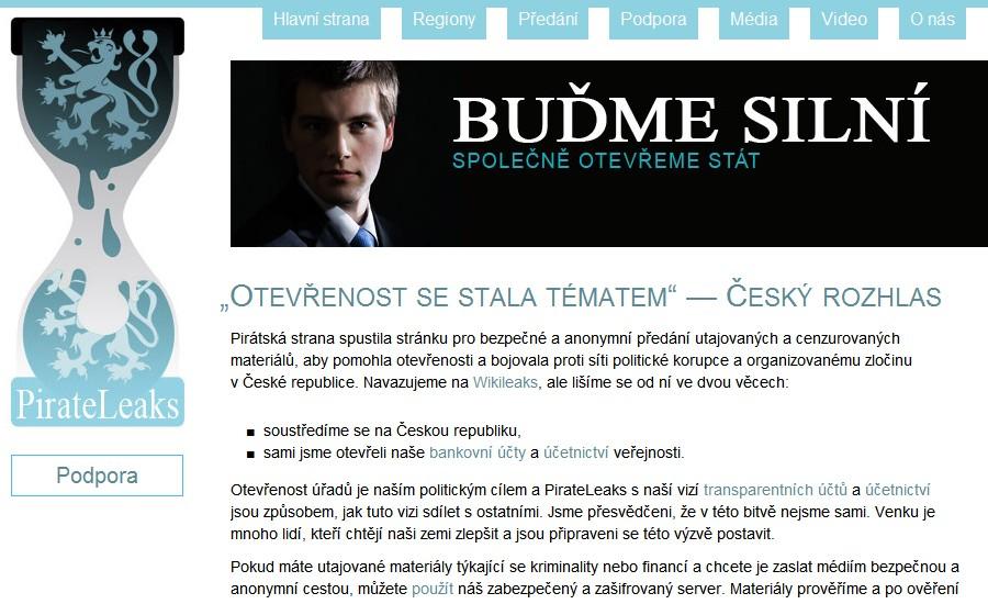 Webové stránky PirateLeaks