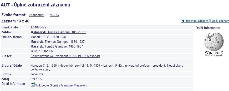 Wikipedie v databázi autorit Národní knihovny