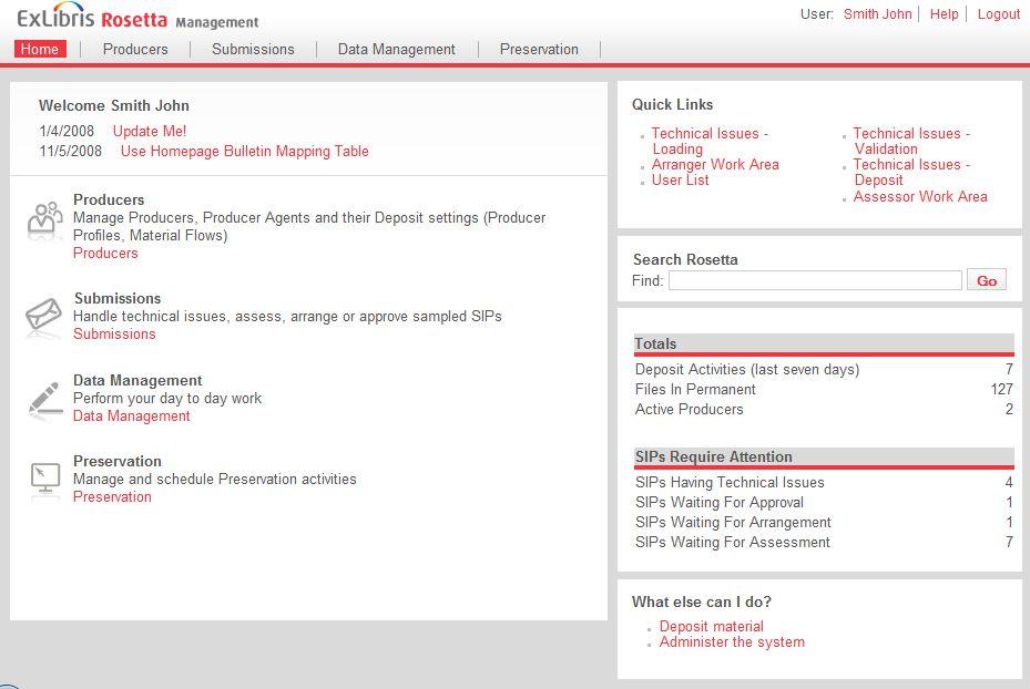 Obr. 3 - Rosetta, uživatelské rozhraní pro správu systému